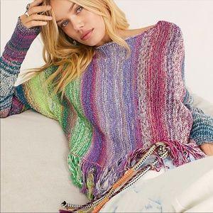 Free People Radiate Striped Pullover Sweater Sz L
